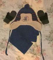Комплект зима: шапка ушанка 50 см и шарф хор.кач-ва и сост-я+ рукавицы