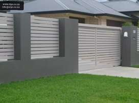 GALVANIZED DRIVEWAY GATE AND STEEL PALISADE FENCING