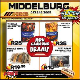 Get all your braai essentials at Middelburg Midas at these LOW prices!