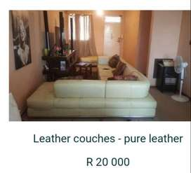 Pure leather corner couch