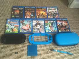 PS Vita + 8 Games + memory card and accessories