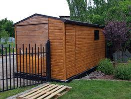 Garaż blaszany schowek ogrodowy 2.6x5 drewnopodobny złoty Dąb Prestige