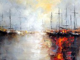 ZAJKOWSKI OBRAZY - obraz olejny marynistyka statki abstrakcja art deco