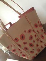 torebka torba w usta beż róż na ramie listonoszka
