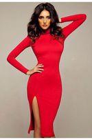 Гольф платье красное с длинным рукавом и разрезом