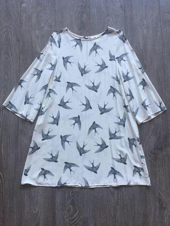 Платье M/38/44 шелковое хлопок+шёлк трапеция с принтом ласточки птицы