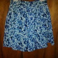 Piękna spódnica krótka taliowana mini niebieska kwiatki BIK BOK
