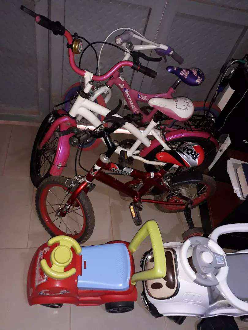 Children bicycles and baby cars 0