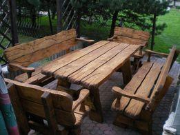 Zestaw ogrodowy KORNIK (stół + dwie ławki + dwa fotele).