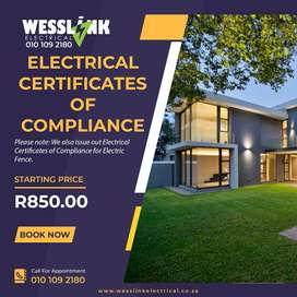 NEED AN ELECTRICAL CERTIFICATE OF COMPLIANCE?