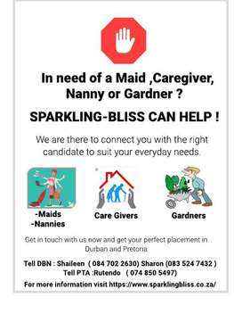 Placement services for maids , Nannies , caregivers , Gardners etc
