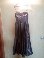 Платье вечернее в пол, серебристое, серое в пайетки, на 36-38 р