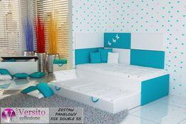 Łóżko piętrowe tapicerowane z materacami i panele ścienne,dla dziecka