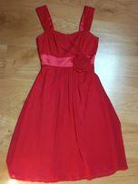 Soczyście malinowa elegancka sukienka XS