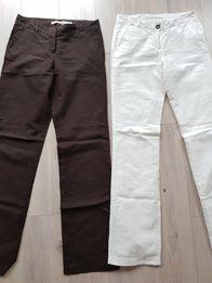 Spodnie lniane CAMAIEU białe i brązowe r.XS