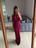 nowa długa sukienka maxi odkryte ramiona 34XS falbana hiszpanka