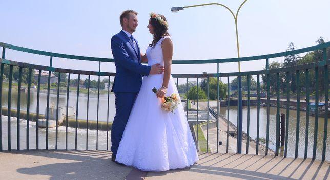 """Piękna Suknia ślubna śnieżnobiała roz 38-40 """"Dafne"""" Olesno - image 2"""