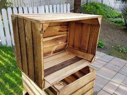 Skrzynka opalana drewniana jedynka mała meble regały z palet półka
