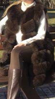 Песцовая жилетка ,под соболь,состояние 5+,одевалась 2/3 раза