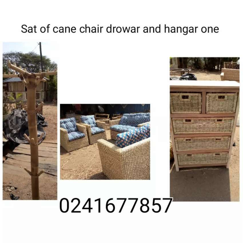 Sat of cane chair and drowar 0