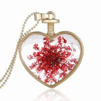 Naszyjnik złoty łańcuszek serce naturalne kwiaty na prezent nowy