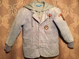 Куртка Ветровка с капюшоном,вельвет, внутри хлопок на молнии+пуговиц