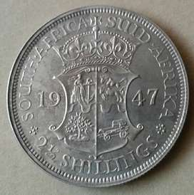 Rare 1947 proof S.A silver 2 1/2 Shillings (mintage 2600)