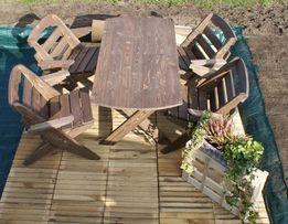 Meble Ogrodowe Drewniane Składane STÓŁ, KRZESŁA, ŁAWKA - od ręki