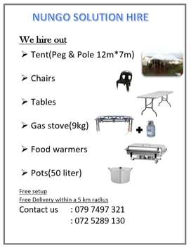 Chairs, table, tent and gas stove for hire