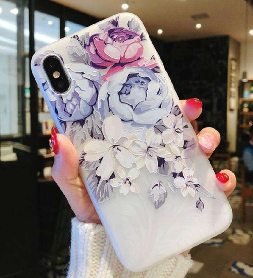 Floral semi transparent case for iphone xsmax xr xs x 0