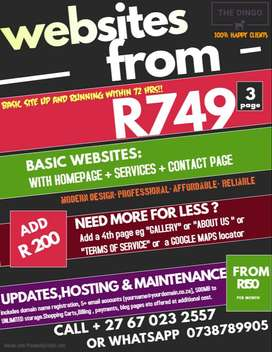 WEBSITE DESIGN LOW LOW PRICES R749.99 ONCE OFF