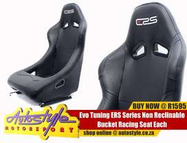 Evo Tuning ERS Series Non Reclinable Bucket Racing Seat (black vinyl)