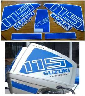 Suzuki DT 115 outboard motor cowl stickers decals kits