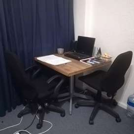 Office chairs and stable table