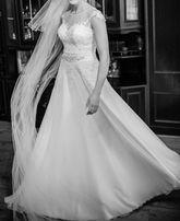 Suknia ślubna rozmiar 38 40 muślin koronki haft ozdobny pas