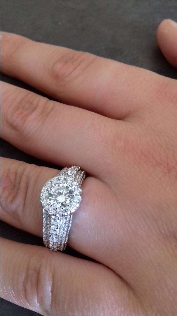 SOLID STERLING SILVER Halo Triple Accent Row Engagement Ring