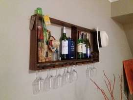 Handmade wall hanging Wine Rack. Stained for a darker finish