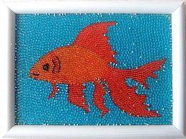"""Картина из бисера """"Золотая рыбка"""" ручной работы"""