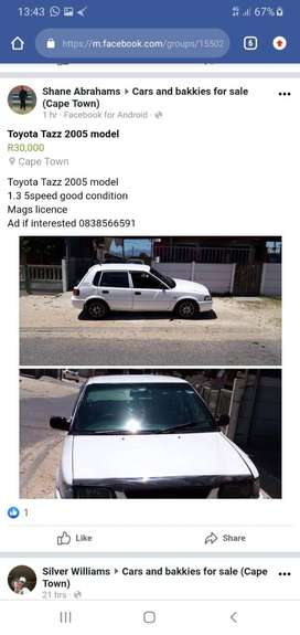 Toyota Tazz 2005 model for sale