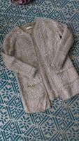 Sweter z długim włosiem Flam Mode złoty zamek unisex futerko ciepły