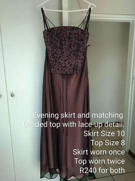 Evening skirt and matching beaded top with lace-up detail