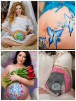 Аквагрим, боди-арт для беременных, рисунок на теле, день рождения