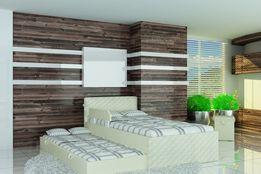 Łóżko piętrowe dla dziecka, boki gładka tapicerka wezgłowia pikowane.
