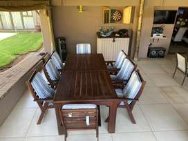 indonesian teak wood table and chairs
