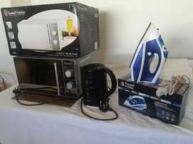 Russell Hobbs 20L Microwave oven, Steam spray dry iron, Ottimo kettle