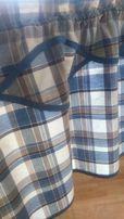 Zazdrostka bawełna niebieska krata 165x44,lambrekin-wiejski stół