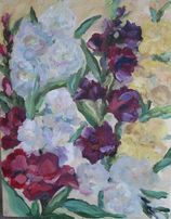Картина Гладіолуси, квіти, цветы, гладиолусы, холст, масло