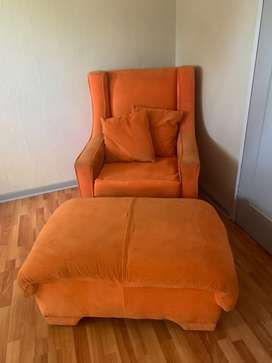 Orange Accent Chair with foot rest