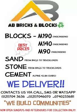 Cement blocks sand and stone