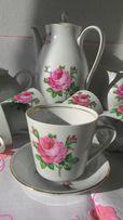 Чайно-кофейный сервиз из тонкого фарфора[ГДР, Германия, немецкий, роза